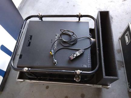 Multimedia equipment (Panasonic PT-DZ21K2 projector, Panasonic D75LE10 lens)